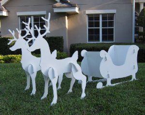 Wooden Reindeer For Lawn Outdoor Santa Sleigh And 2 Set Patio Garden