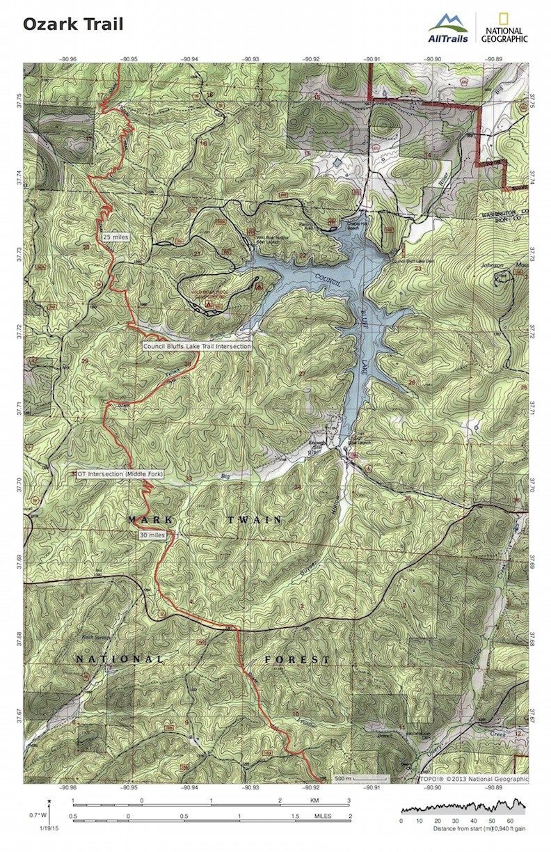 Ozark Mountains Topographic Map.A Set Of Topographical Maps For The Trace Creek And Taum Sauk