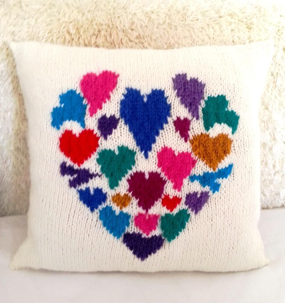 Heart of hearts cushion | Heart cushion, Knitting patterns and ...
