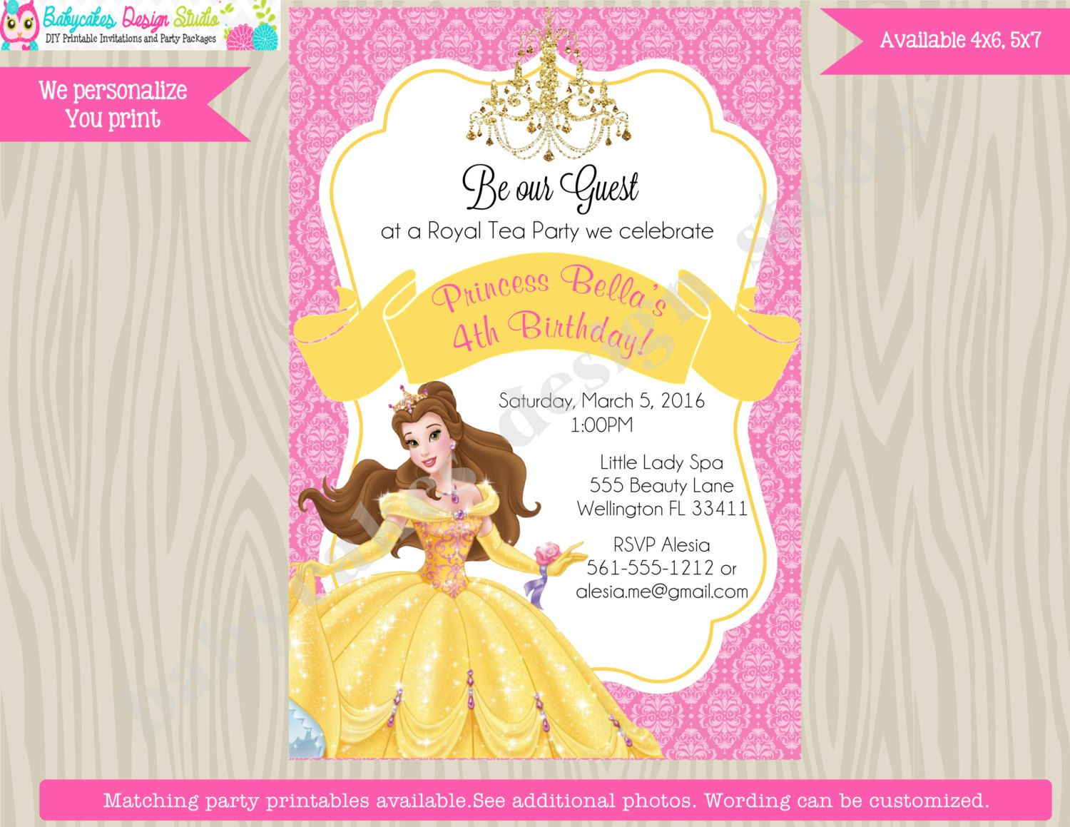 Princess belle invitation invite belle birthday invitation princess princess belle invitation invite belle birthday invitation princess birthday pink yellow beauty beast digital filmwisefo