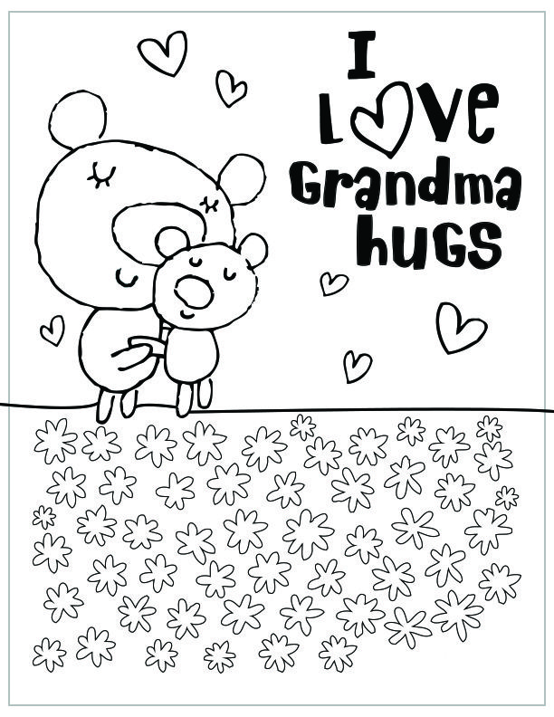 Mothers Day Free Printable Coloring Pages Grandma Hugs