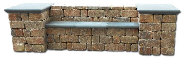 Menards Paver Tumble Stone Bench | Stonegate Oak Run Bench With Natural  Precast Caps