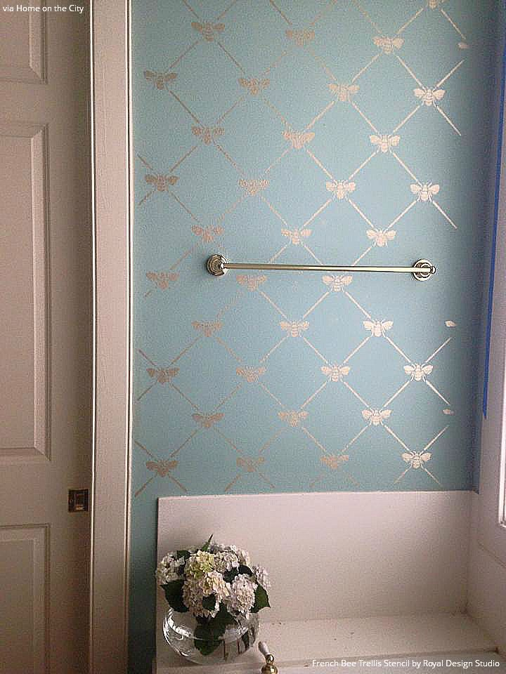 Bon Pastel Blue And Metallic Silver Bathroom Makeover With Wallpaper Look    French Bee Trellis Wall Stencils   Royal Design Studio