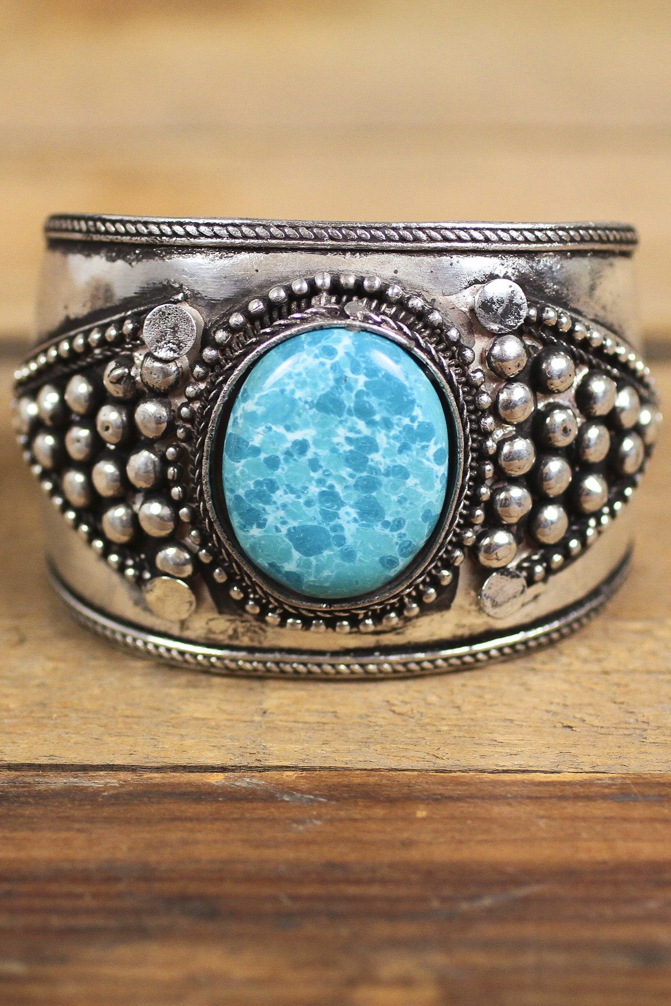 Giant Turquoise Stone Metal Cuff