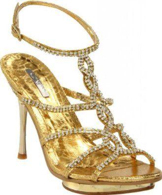 49.95 Shoehorne Joyce-09 - Womens Gold Rhinestone/Diamante Strappy