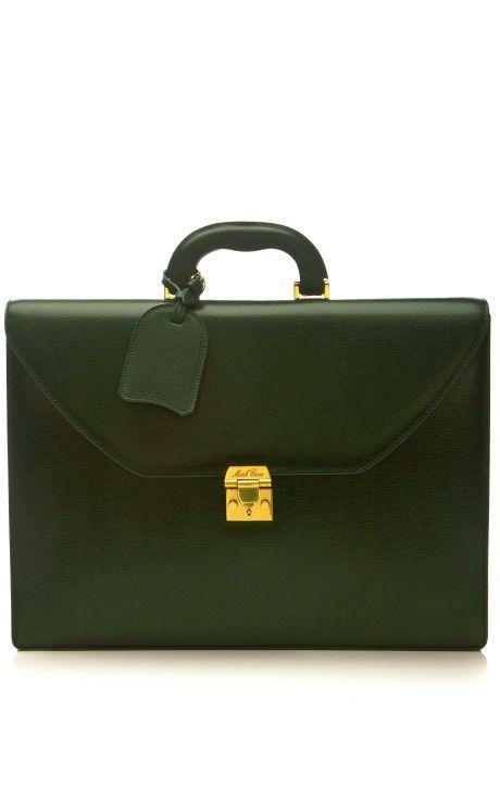 Mark Cross Briefcase In Green by Mark Cross for Preorder on Moda Operandi