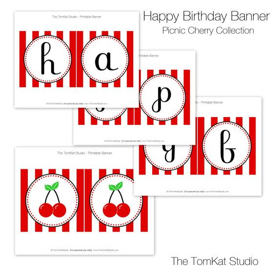 cherry party printable happy birthday banner by by tomkatstudio