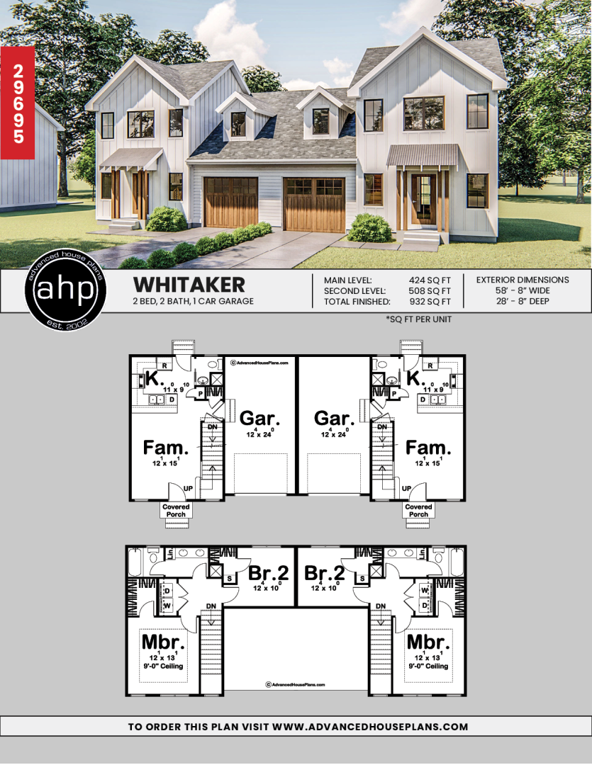 Modern Farmhouse Multi Family House Plan Whitaker Family House Plans Duplex House Design House Plans Farmhouse