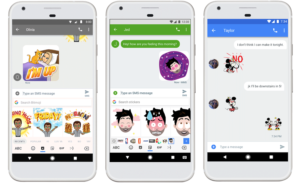 Google's Gboard for Android gets stickers and Bitmoji Linge