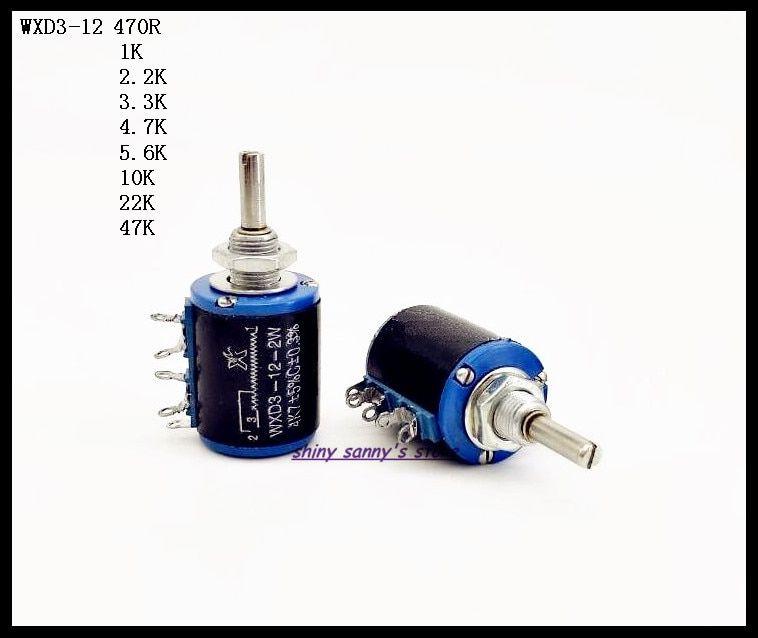 15pcs Wxd3 12 2w 470r 1k 2 2k 3 3k 4 7k 5 6k 10k 22k 47k Ohm Multi Circle Precision Wire Wound Potentiometer Brand New Multi Precision Wire