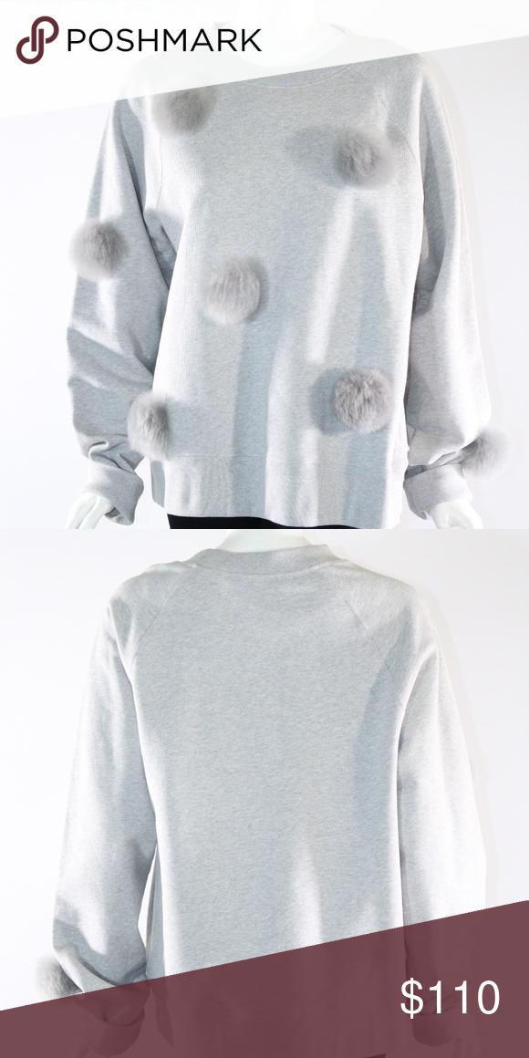 Last Call Tibi Pom Pom Large Grey Sweatshirt Nwt In 2018 My Posh