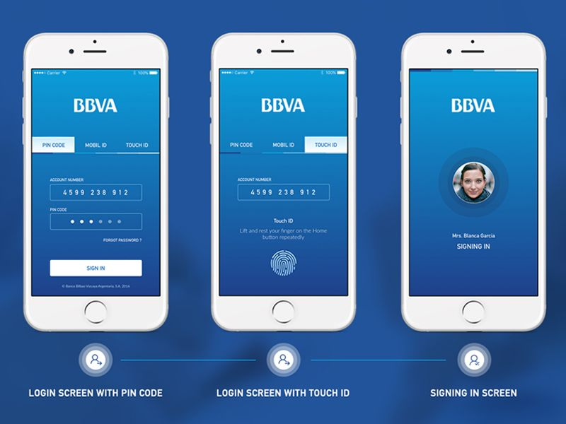 BBVA Banking App Login Screen by Orkun Buran App login