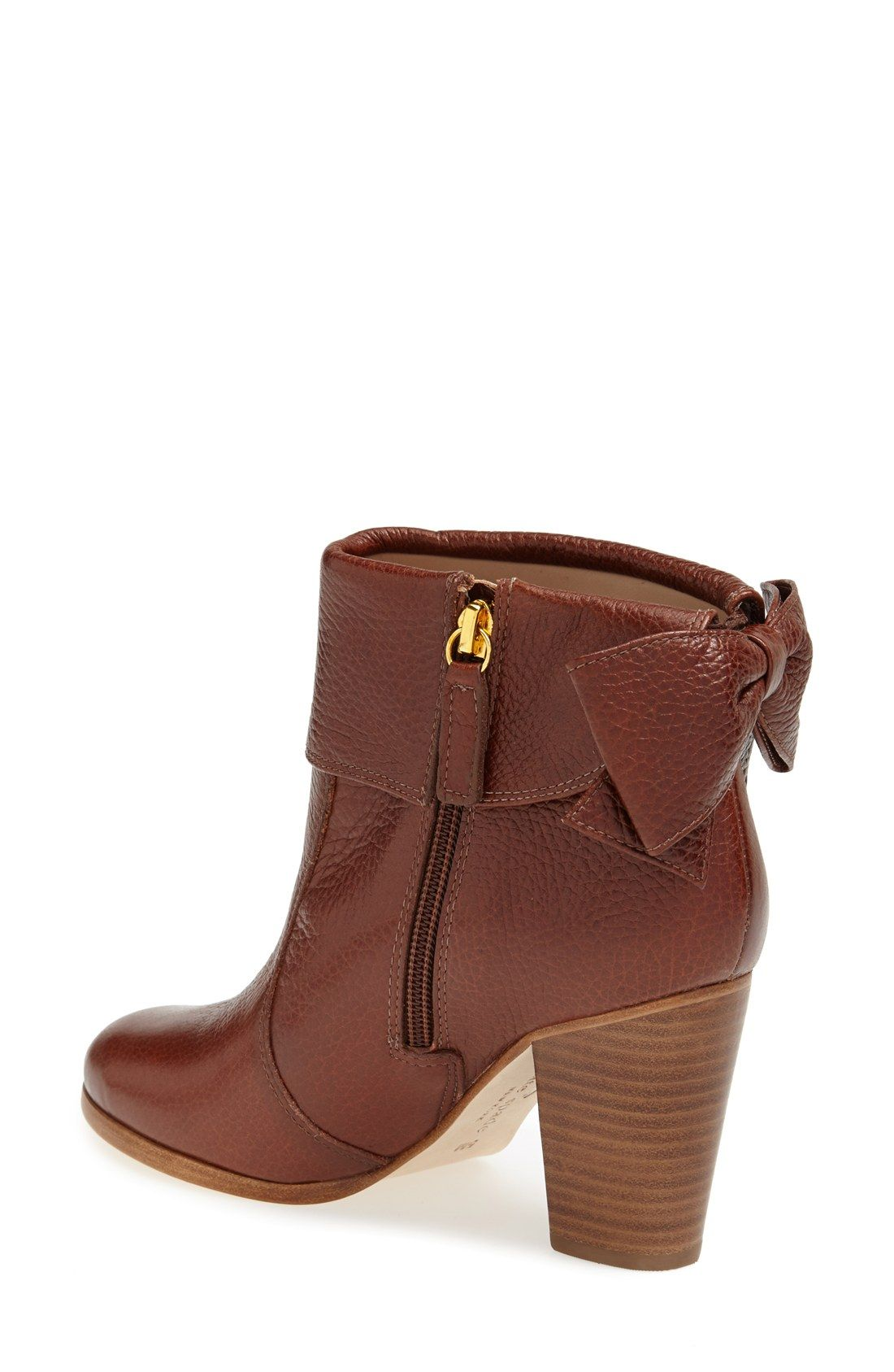 75f0b6f33b5203 The prettiest Kate Spade leather bow boot. Brown Dress Boots, Dress With  Boots,