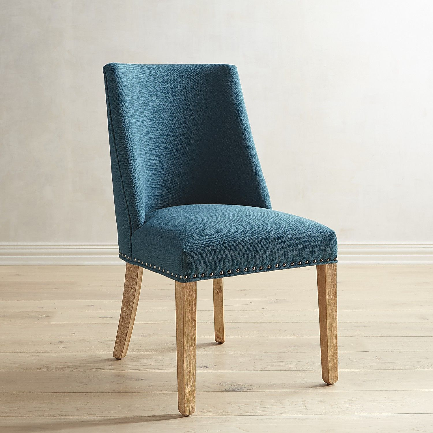 Corinne Teal Dining Chair With Natural Stonewash Wood Linen