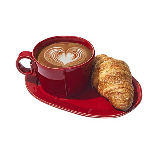Cappuccino and croissant. Soup and sandwich. Oatmeal and fruit. Some things are just better together. Which is why we love this beautiful Italian stoneware jumbo cup and oval tray, hand formed in Tuscany. Bonus: You can put them in the microwave, oven, freezer and dishwasher. Mangia! #valentinesday