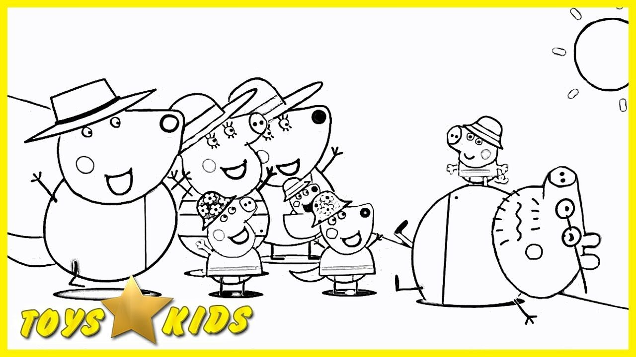 Peppa Pig and Her Friends on the beach Coloring Book Pages Kids Fun ...