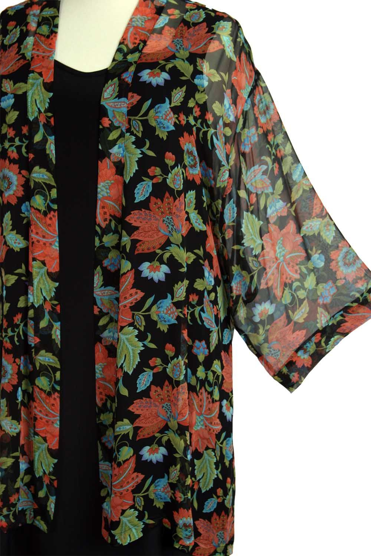 fb0c6da5569 Plus Size Mother of Bride Kimono Jacket Persimmon Green Black Floral Silk  Size 30 32