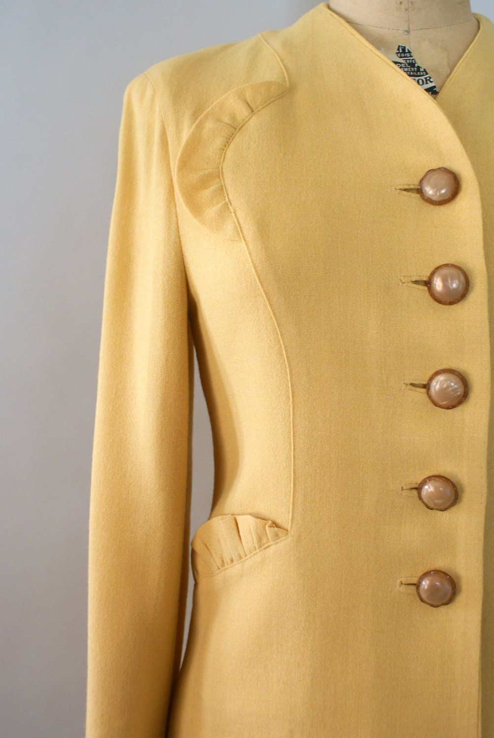 51140357280da Vintage 1940s Wool Skirt Suit - Golden Wheat Yellow Wool Dress Suit Jacket  and Skirt.