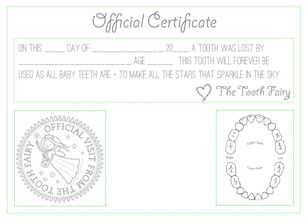 Official Tooth Fairy Certificate Childrens Pinterest