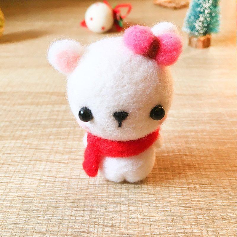 Handmade Needle felted Polar Bear felting kit project Christmas cute f | Feltify