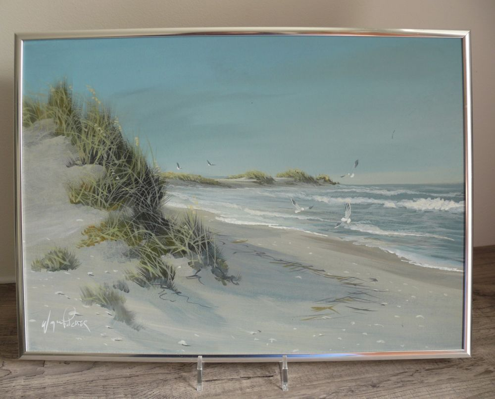 Wayne Fulcher   Artist Signed Painting Outer Banks Beach Scene Framed