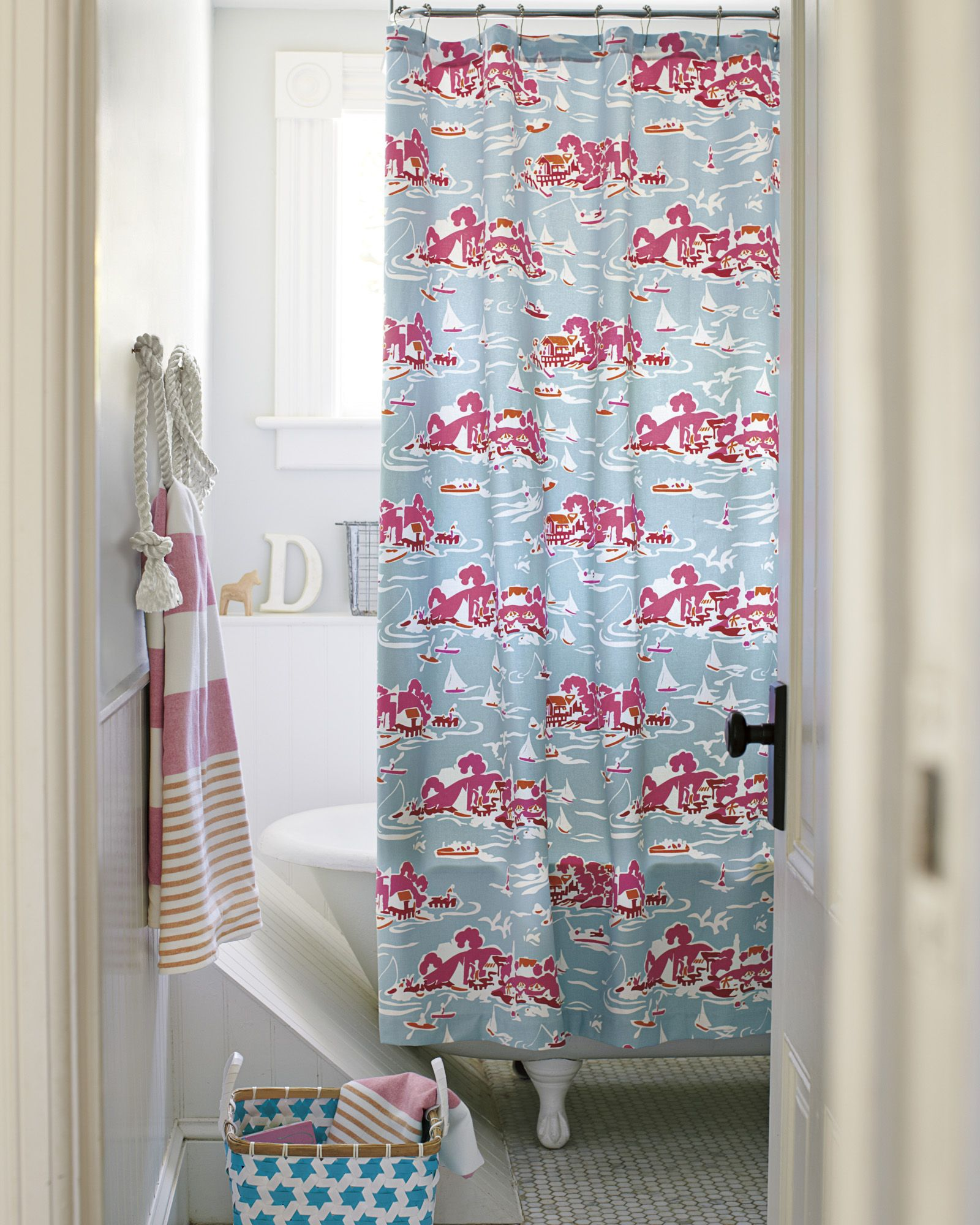 Skylake Toile Shower Curtain – AquaSkylake Toile Shower Curtain ...