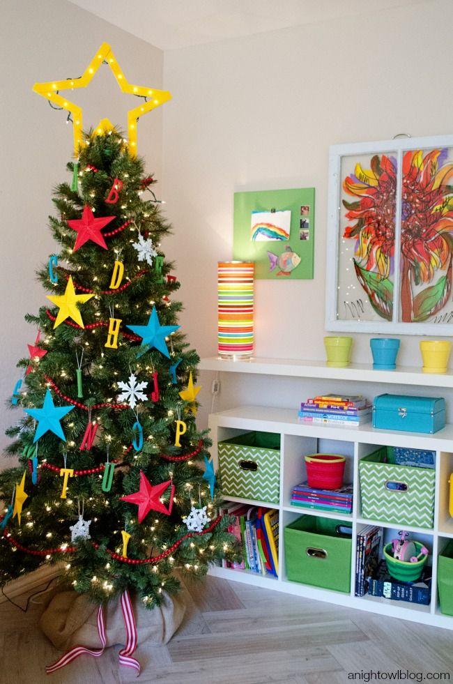 Children Christmas Tree Decorations.Abc Kids Christmas Tree Holiday Decor Diy Creative