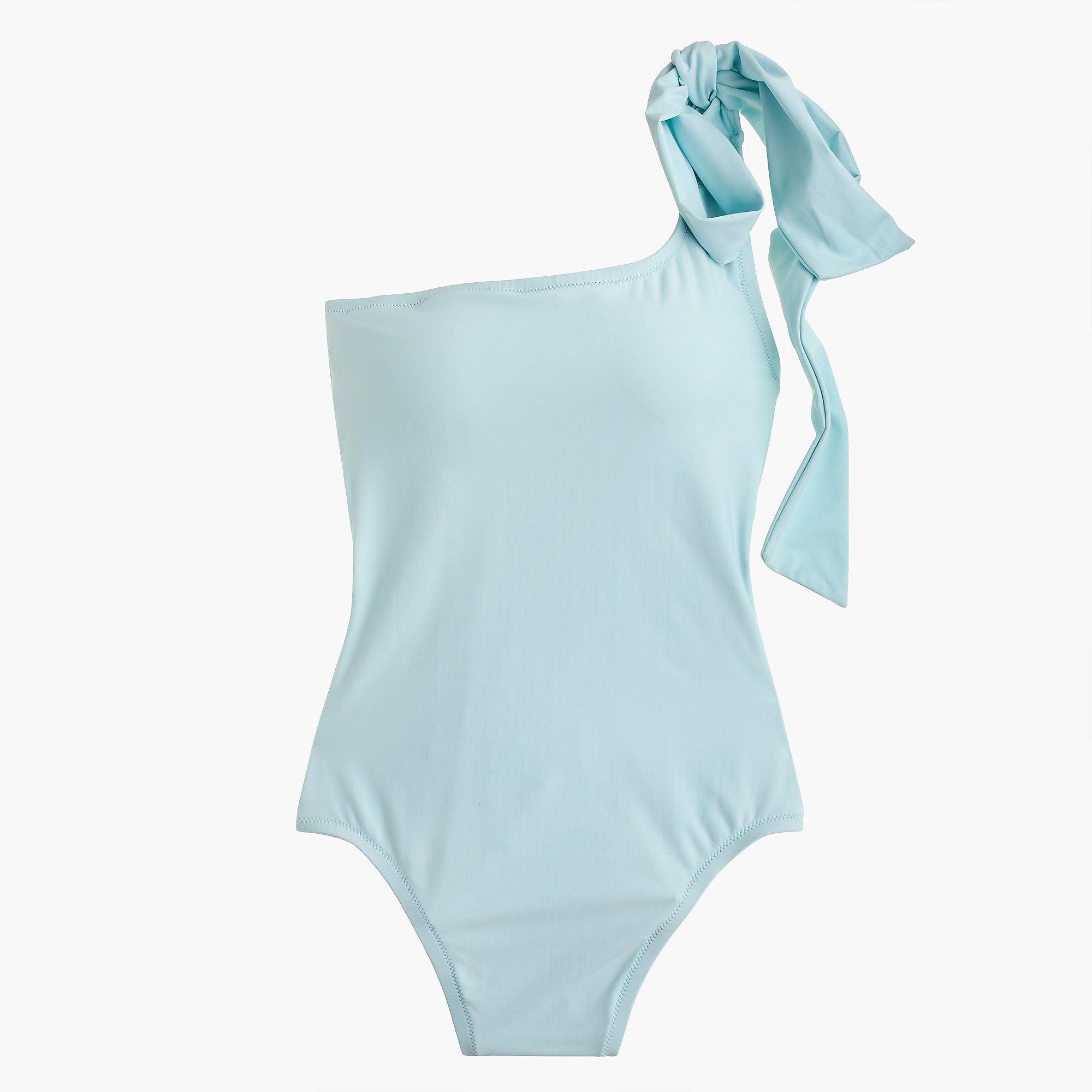 c77b3ed6855b8 Women's Bow-Tie One-Shoulder One-Piece Swimsuit - Women's Swimwear   J.Crew