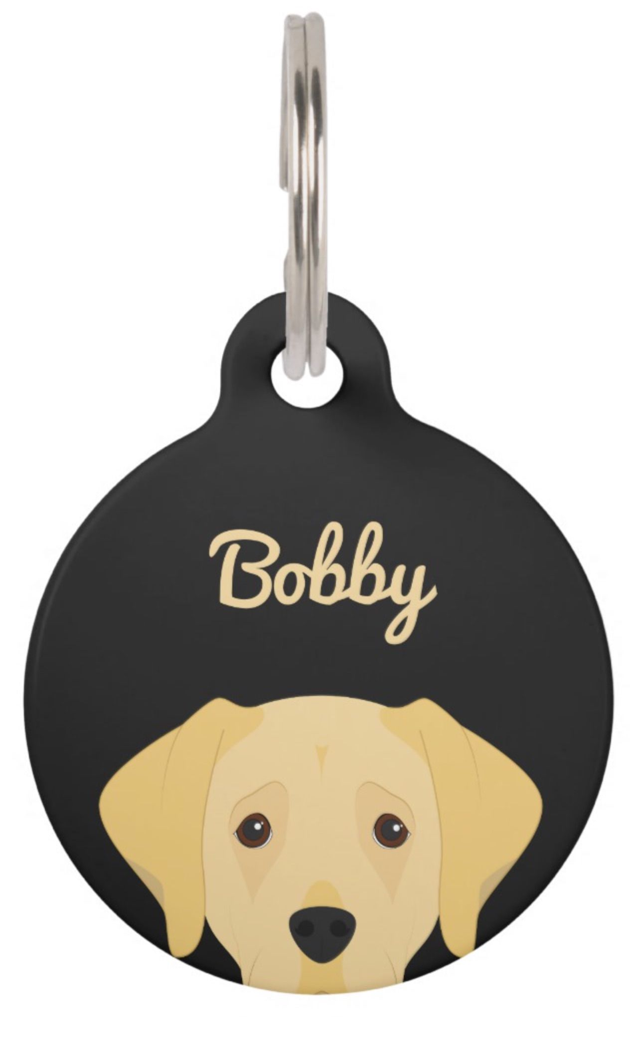 Labrador Retriever Dog Portrait Pet Name Tag Labrador Retriever by Junkys Dog Store - Funny and cute portrait illustration of a blonde Labrador Retriever