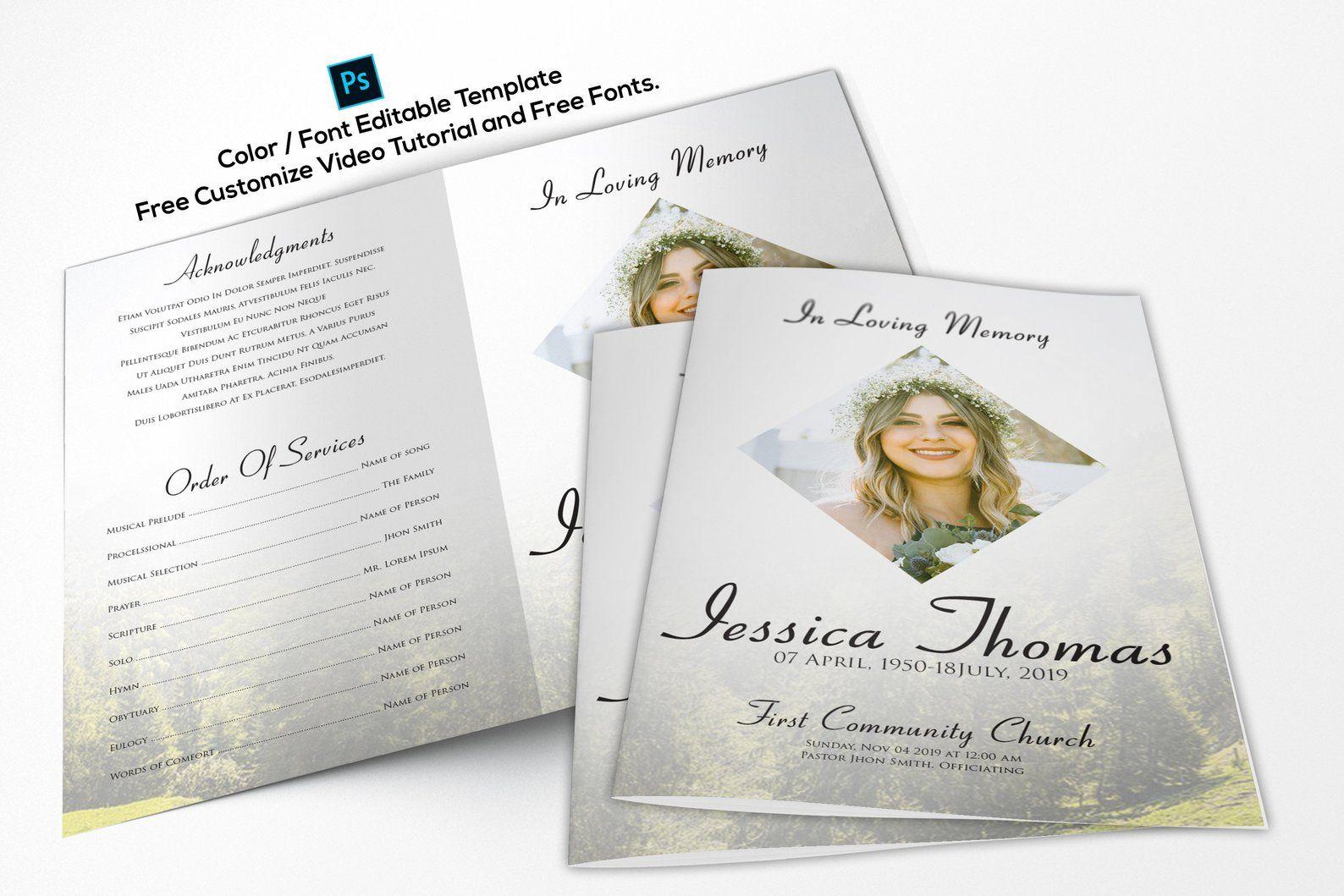 Printable Funeral Program Template Memorial Program Template Etsy Funeral Program Template Funeral Programs Memorial Program