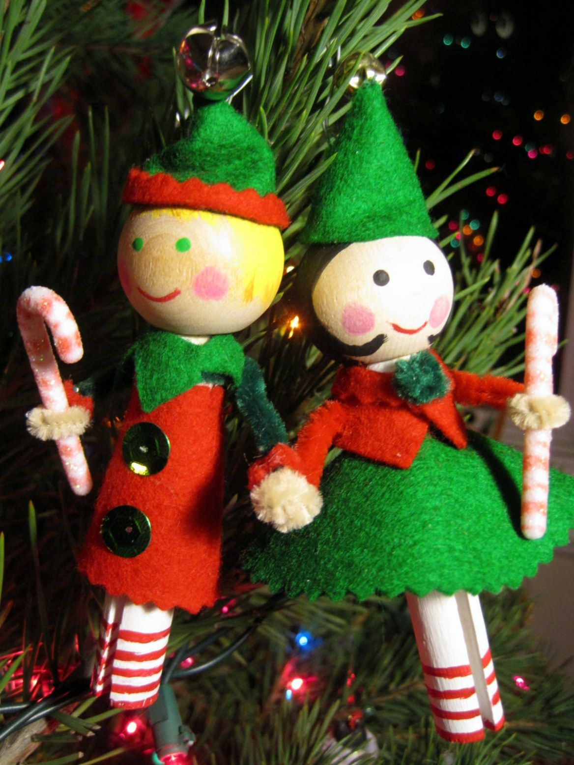 Little clothespin doll ornaments elves clothespin dolls and ornament