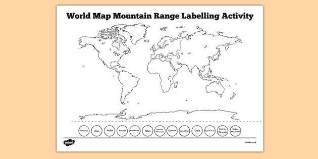World map mountain range labelling activity primary geography world map mountain range labelling activity gumiabroncs Images