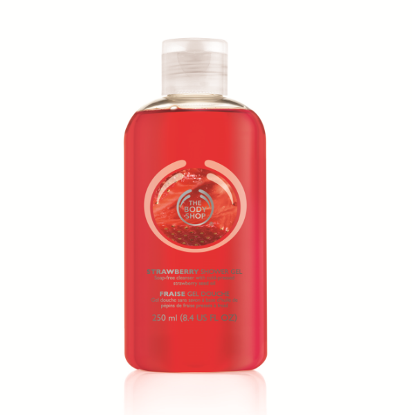 A sweet strawberry scented, refreshing, soap-free, cleansing gel containing Community Fair Trade organic soya oil. It lathers up in the bath or shower to leave your skin feeling clean, fresh and subtly scented. #thebodyshopaust #showergel