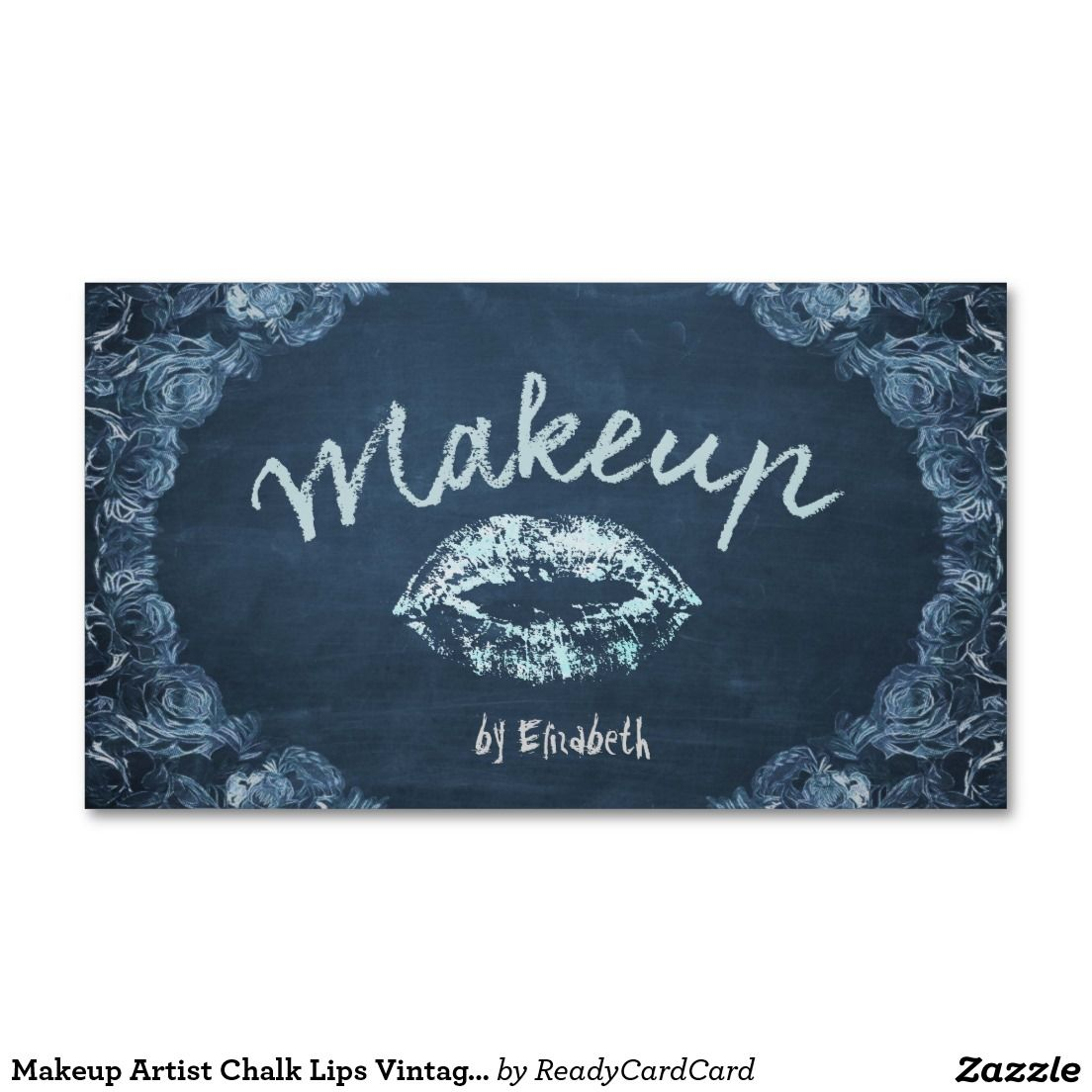 Makeup artist chalk lips vintage floral salon business card makeup artist chalk lips vintage floral salon double sided standard business cards pack of 100 reheart Image collections