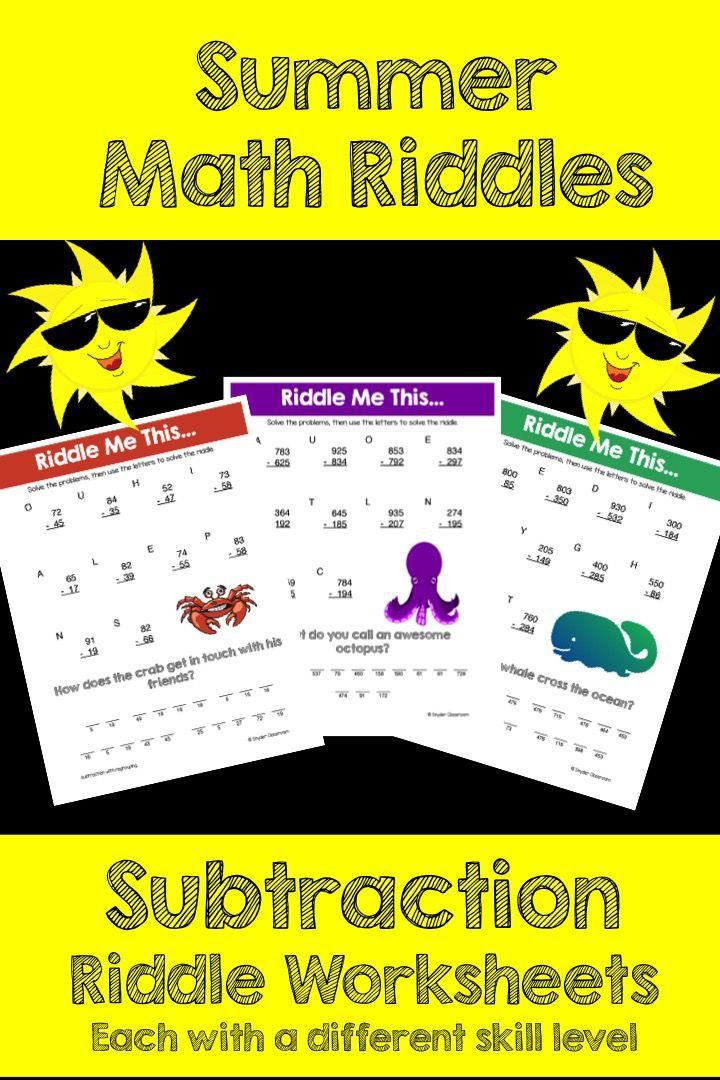 Summer Subtraction Math Riddles Math riddles, Math