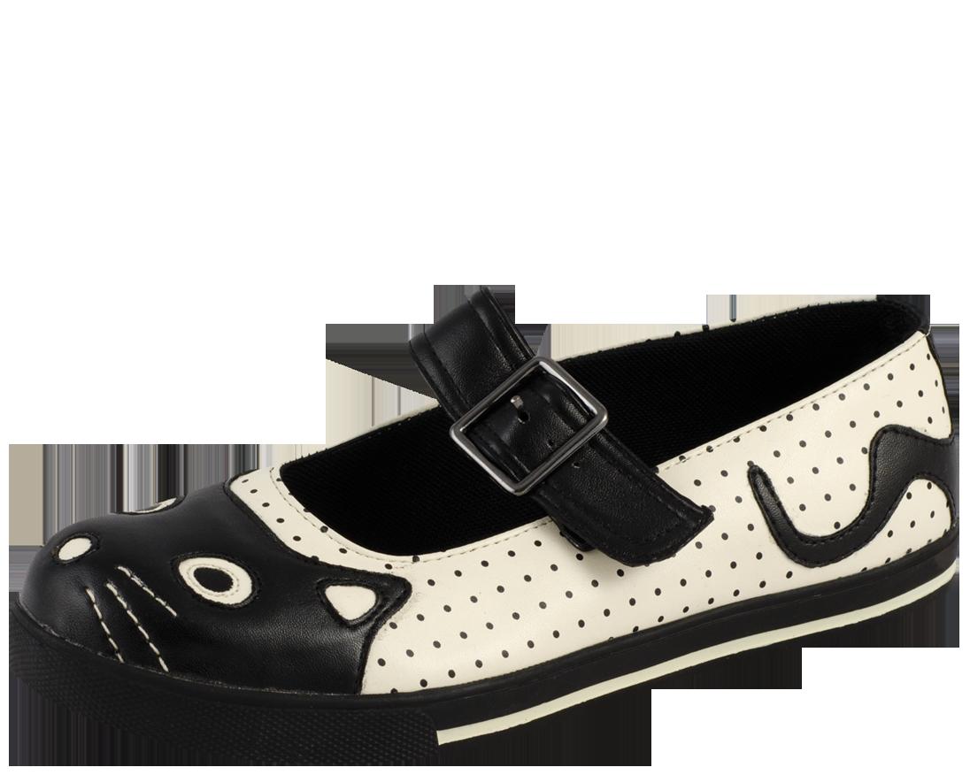 T.U.K. Shoes Women's Black Polka Dot Kitty Flats EU37 / UKW4 jBB1phb