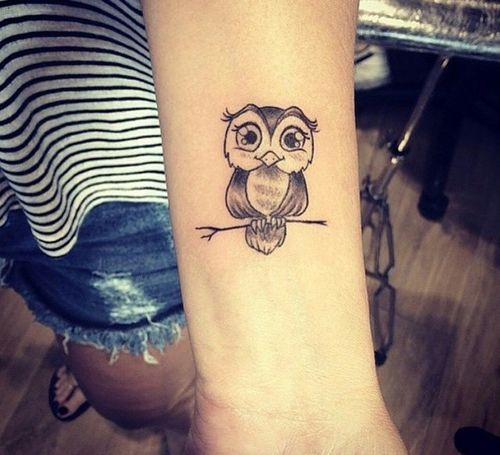 Cute owl couple tattoo
