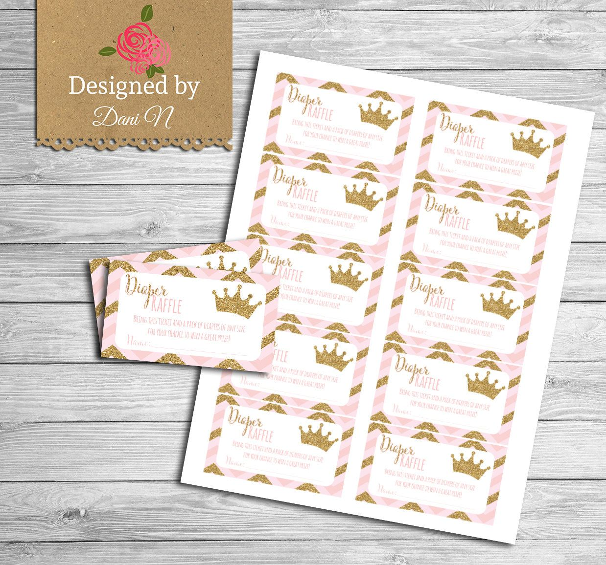 Baby Shower Games, Diaper Raffle Princess Baby Shower, Pink And Gold Crown,  Printable Party Coordinates, Baby Pink, Instant Download