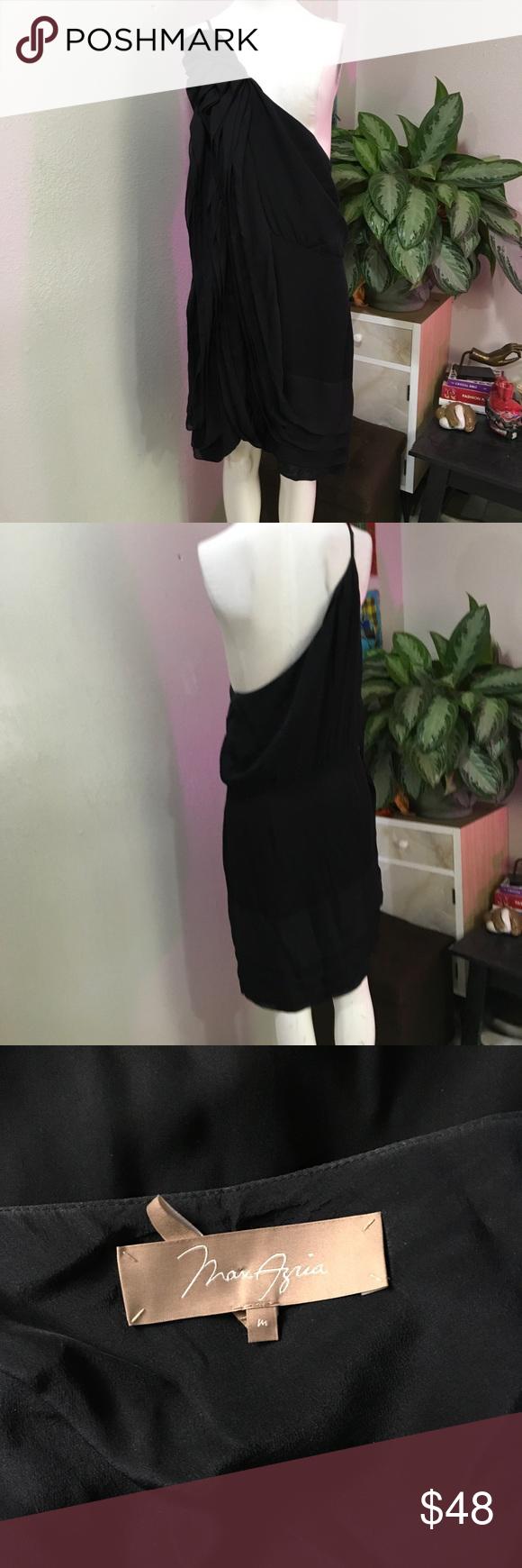 MAXAZRIA M SILK BLACK ONE SLEEVE RUFFLE MINI DRESS Beautiful dress by BCBG MAXAZRIA BCBGMaxAzria Dresses
