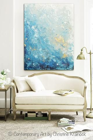 Coastal Wall Art giclee print art abstract painting ocean blue white seascape