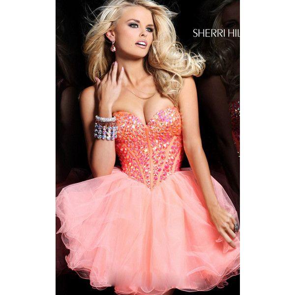 Short Beaded Orange Sherri Hill 21101 Homecoming Dress ($225) via Polyvore  featuring dresses,