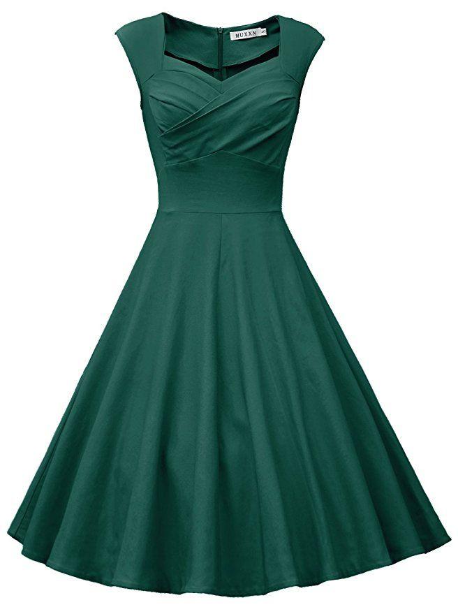6d35091be0b7 MUXXN Women's Sweetheart Neckline Knee Length Formal Dress (M Dark Green)