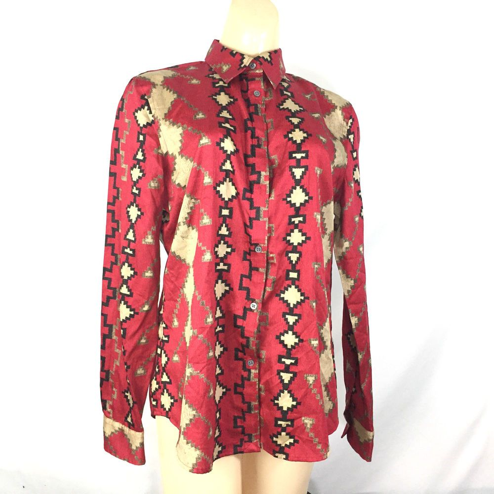 New ralph lauren womens large shirt aztec southwest red black long