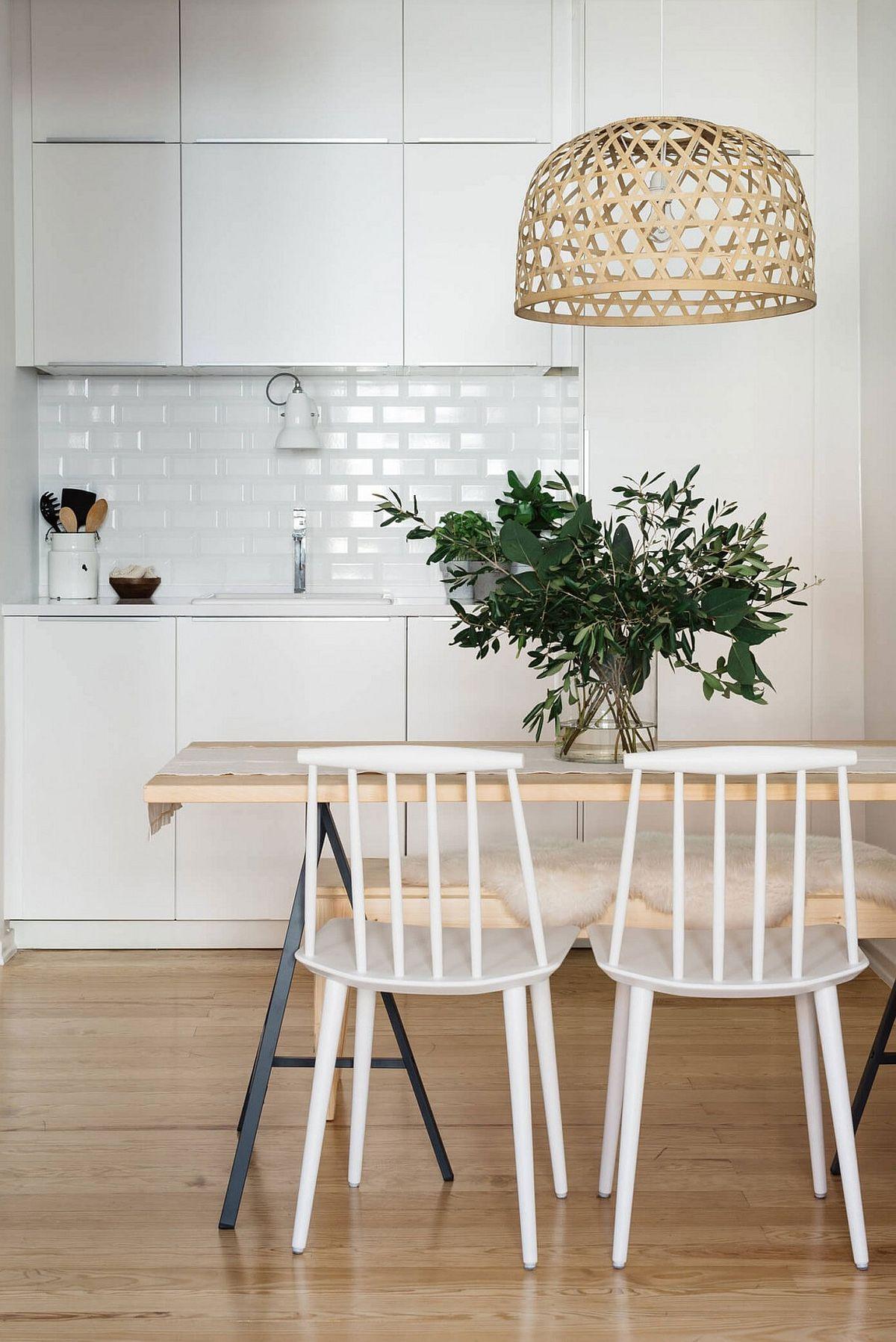 Unique lighting fixture wooden table and sleek