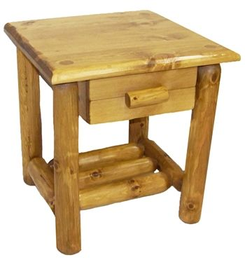 Pine Lodge Nightstand - Honey Glaze - Wooden Pine log furniture from Roughing It In Style