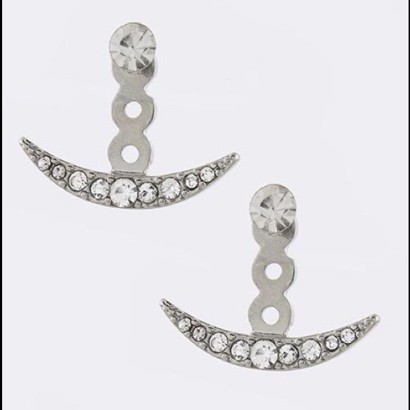 Crystal pave crescent ear jacket Crystal pave crescent ear jacket great for spring summer beach cruise festival Jewelry Earrings