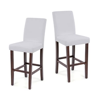 iKayaa Moderne Faux Cuir Chaises haute pour dîner avec cadre en bois