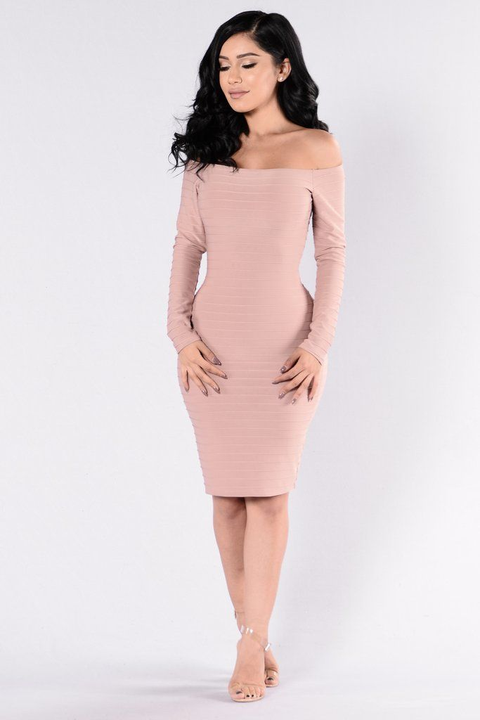 f912167ea04e1 Available in Pink - Off Shoulder Dress - Long Sleeve - Fitted - Midi Length  - Stripe Detail - 95% Polyester % Elastane