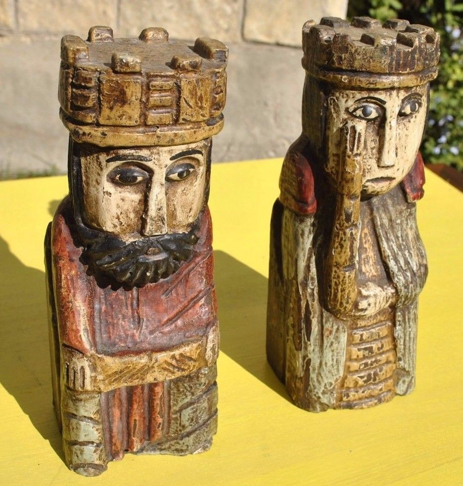 Carved wood king queen bookends figures spain mid century