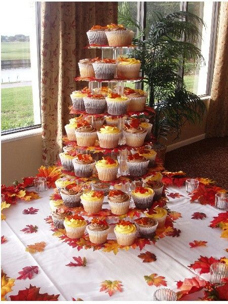Cupcake Tower With Images Fall Wedding Cupcakes Fall Wedding Cakes Fall Wedding Shower